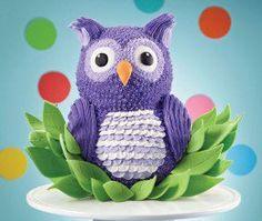 Have a hoot and transform the Wilton Bear Cake into an Owl's Nest Fun Fest Cake. Love this but looks hard to do! Owl Cakes, Bird Cakes, Ladybug Cakes, Cupcakes, Cupcake Cakes, Fruit Cakes, Shaped Cake Pans, Teddy Bear Cakes, Elmo Cake