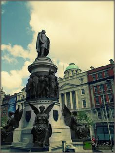 The O'Connell Monument on O'Connell street in the amazing city of Dublin, Ireland. O'Connell street is named after Daniel O'Connell.