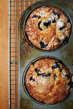 Lemon-Blueberry Muffins — big on the blueberries, big on the sugar on top. What more do we need in a blueberry muffin? These are the best. Lemon Blueberry Muffins, Blueberry Recipes, Blue Berry Muffins, Blueberries Muffins, Muffin Recipes, Gourmet Recipes, Cooking Recipes, Cooking Tips, Breakfast Muffins