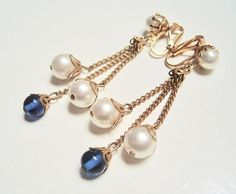 Vintage 1970's Faux Pearl and Royal Blue Glass Bead LONG