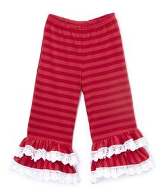 Red Stripe Tiered Ruffle Pants - Infant Toddler & Girls