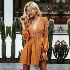 Lace V Neck Suede Going Out Skater Mini Dress