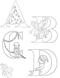 Christmas Alphabet to enhance your Christmas embroideries and quilts | Cotton Arts Boutique; sew, trace, colouring, drawing
