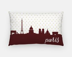 Paris decor | Paris pillow | Paris home decor | gold polka dot pillow | Paris France pillow | Paris skyline pillow | Paris skyline decor