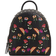 Embroidered Studded Backpack (684.870 IDR) ❤ liked on Polyvore featuring bags, backpacks, embroidered backpack, floral backpack, zip bag, zipper bag and floral print bags