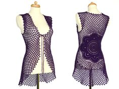 #Crochet #Mandala #Flower #Vest - #EcoFriendly - #Recycled #Wool - #Hippie #Clothing