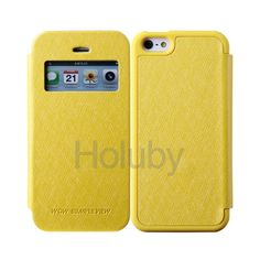 Mercury Goospery Wow Bumper View Series Side Flip TPU+PU Leather Case for iPhone 5/5S with Card Slots(Yellow)