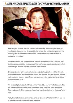 Good for her<<-- I grew up watching Captain Janeway and I fucking loved her. She& still my favourite female sci-fi character. Science Fiction, Pulp Fiction, Captain Janeway, K Om, Good For Her, Starship Enterprise, Across The Universe, Star Trek Voyager, Fandoms