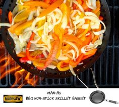 MAN-H3 BBQ NON-STICK SKILLET BASKET  Grilled Vegetables and Seafood are a must with the Skillet Basket; Onions, Bell Peppers, Shrimp or Scallops anything that needs to be flame grilled but doesn't work well on a the standard grill grates. Stop loosing food to the grill and keep it in the Skillet. Grill Holes give you access to the open flame while keeping you food secure. Non-Stick, easy cleanup.  #FlameKissed #SkilletBasket #GrillHoles #manlawbbq #mansonlychoice #bbq #bbqtools #man