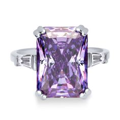 Sterling Silver Radiant Purple CZ Solitaire Ring