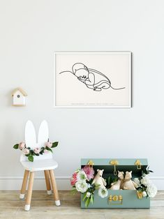 The Newborn Print Personalised Nursery Print Nursery Decor | Etsy Pastel Nursery, Nursery Prints, Nursery Decor, Room Decor, Boy Girl Room, Boy Or Girl, Newborn Nursery, Abstract Line Art, Simple Lines