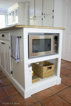 Shelving added to kitchen island to get microwave off the countertop! …