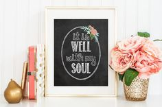 Bible Verse Art print, printable Scripture wall art decor, INSTANT DOWNLOAD - It is well with my soul