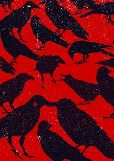 Nice graphic print of crows. Crow Art, Bird Art, 4 And 20 Blackbirds, Dark Wings, Beautiful Dark Art, Crows Ravens, All Birds, Textiles, Bird Feathers