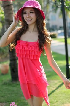 Pink swimdress.  Like the ruffles on the top.