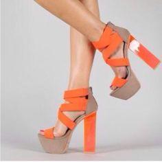 db7d638b9d9 Qupid Arctic-10X Neon Lycra Strappy Lucite Platform Sandal Designer Shoes