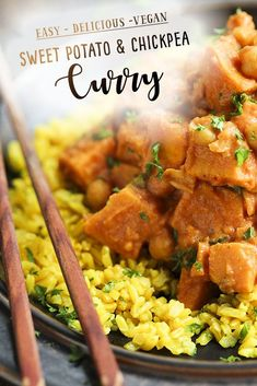 Easy Sweet Potato & Chickpea Vegan Curry decadently delicious and super healthy by Trinity Vegan Recipes Videos, Vegan Dinner Recipes, Vegan Dinners, Vegan Recipes Easy, Real Food Recipes, Vegetarian Recipes, Chickpea Recipes, Spicy Recipes, Asian Recipes