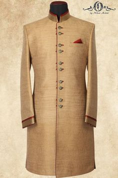 Gold & Maroon Brocade Zardosi Embroidered IndoWestarn Sherwani-IW850 Indian Men Fashion, Royal Fashion, African Fashion, Mens Fashion, Prince Suit, Indian Groom Dress, Sherwani For Men Wedding, Mens Kurta Designs, Men Formal