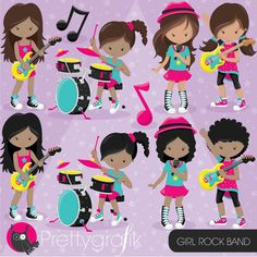 80% OFF SALE Rock star girls clipart by Prettygrafikdesign on Etsy