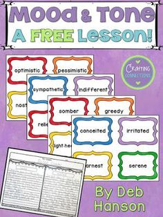 MoodTone  Middle Literacy Stuff    Anchor Charts