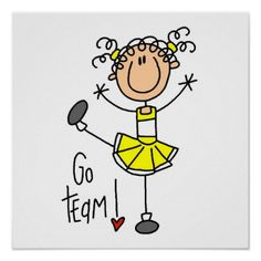 stick figure cheerleader clip art | Yellow Stick Figure Cheerleader T-shirts and Gifts Poster