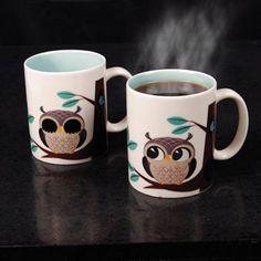 "Sleepy owl ""wakes up"" when you fill the mug with hot liquid! Rise and Shine Magic Mug: www.powells.com/biblio/094922817464?utm_source=facebook_medium=web_campaign=facebook_fans_content=Owl Mug#product_details"