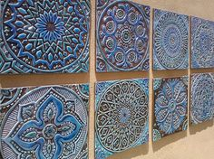 6 Moroccan, Suzani or Mandala wall hangings made from ceramic - Set of 6 - wall art - wall hanging - wall decor - Ceramic tile - turquoise