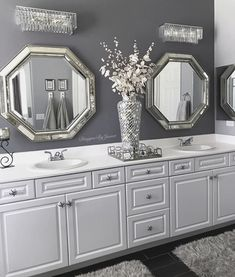 Selecting the right home decorative items can make your dream of a beautiful home come true. With endless choices available in home accessories, you need to have a plan before you set out decorating your home. Bling Bathroom, Bathroom Accents, Small Bathroom, Small Elegant Bathroom, Glamorous Bathroom, Bathroom Mirrors, Bathroom Design Luxury, Bathroom Designs, Bathroom Ideas