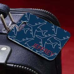 Personalized Jet Setter Navy Luggage Tag- Add a unique touch to any piece of luggage with these colorful Personalized Bon Voyage Luggage Tags, offered in a variety of designs from plain and simple to frilly and feminine. Personalized Luggage Tags, Personalized Mother's Day Gifts, Custom Luggage Tags, Mens Luggage, Groomsman Gifts, Bridesmaid Gifts, Unique Gifts, Small Gifts, Jet