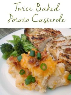 Twice Baked Potato Casserole is loaded with bacon and cheese! No more scooping out potato skins! Goes great with chicken, pork or steak!