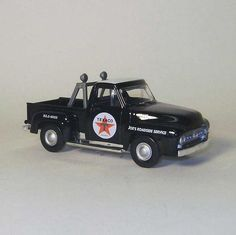 """Matchbox Die Cast Joe's Roadside Serice Texaco 1953 Ford Pick Up Truck 1:43 Scale by Matchbox. $9.98. Official licensed product from Texaco and Ford. Matchbox die cast pick up truck has plastic parts and is 4-1/4"""" long.. Produced by Matchbox/Mattel in 2003 for Reward Center.com.. The black & white truck has the Texaco logo on the doors. Brand New in original white mailing box with a certificate of authenticity. Matchbox die cast pick up truck has plastic parts and is 4-1/4"""" ..."""