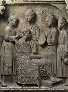 Scene of hairdressing of a roman tomb, before 220 A.D., • Landesmuseum Trier ©…