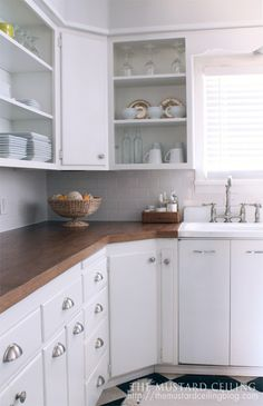 DIY butchers block countertops from the Mustard Ceiling