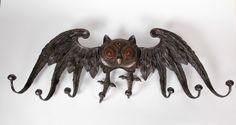 Art Nouveau Jean Perrot (attr.) wrought iron Owl Coat rack c. 1900 image 2