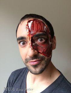 Torn skin. Halloween makeup