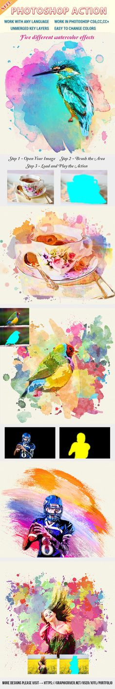Watercolor Art V1 Photoshop Action - Photo Effects #Actions #PSAction #Photoshop #PS #Graphicriver #PhotoEffects #Digitalart #design #paint #painting #watercolor #art #artist #nature