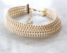 A+++ Freshwater 5 Strand Cultured Round Pearl Choker- 14k Gold Filled/ 24k Bali Gold Vermeil- Fine Artisan Handmade Jewelry Gift for Her- Wedding/ Bride/ Special Occasion