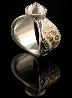 Ring | Grzegorz Blazko. Sterling silver, brass, porcelain, vitreous enamel and a pink cubic zirconia.