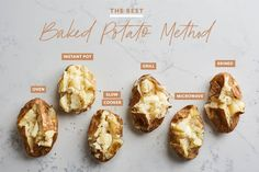 The Best Baked Potato Method 📍by MP Insta-Pot method. highly rated for quick Slow Cooker method. not bad if you have time Best Baked Potato, Perfect Baked Potato, Baked Potatoes, Cheesy Potatoes, Cook Potatoes, Parmesan Potatoes, Potato Dishes, Potato Recipes, Pepper Recipes