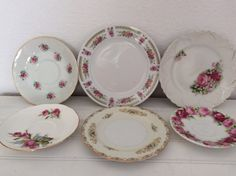 Mismatched China Plates  Pink Roses  Shabby by ShabbyPinkGarden