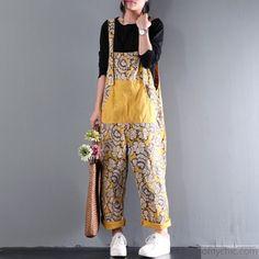 yellow summer cotton trousers women oversize stylish carpenter pants