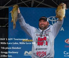 Gregg Hackney- 7th place finisher in the AOY tournament Day 1 on Mille Lacs Lake-Mille Lacs,MN. With 23lbs 5oz