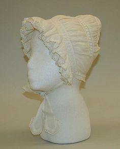 Cap, ca. 1812, American, linen. The Metropolitan Museum of Art.