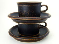 "Stoneware Espresso Cups by Arabia Finland // Ulla Prokope ""Ruska"" // Tea Cups // Coffee Cups"