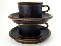 "Stoneware Espresso Cups by Arabia Finland // Ulla Prokope ""Ruska"" // Tea Cups // Coffee Cups"