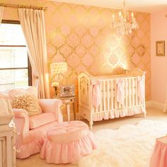A Pink and Gold Princess Pad For a Glam Baby Girl: Little Crown Interiors, the California-based design firm created by Naomi Alon and Gerri Panebianco, has created some seriously enchanting nurseries for celebs including Laila Ali, Melanie Brown, and J.