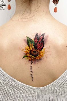 Beautiful And Meaningful Butterfly Tattoo Guide Sunflower tattoo – Fashion Tattoos Sunflower Tattoo Shoulder, Sunflower Tattoo Small, Sunflower Tattoos, Sunflower Tattoo Sleeve, Butterfly On Flower Tattoo, Butterfly Tattoos For Women, Tattoo Flowers, Watercolor Sunflower Tattoo, Butterfly Tattoo Designs
