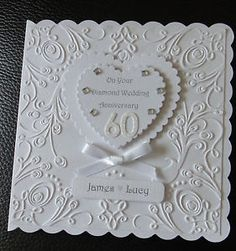 http://rubies.work/0796-emerald-earrings/ Luxury Diamond Wedding 60th Anniversary card Personalised Hand made                                                                                                                                                     More