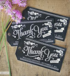 Free printable chalkboard style thank you gift tags which you can personalise and give to guests when they leave the wedding, saves having to send out thank you cards. -- can personalize for other thank yous too! Printable Labels, Free Printables, Chalkboard Printable, Free Wedding Favor Printables, Chalkboard Lettering, Diy Chalkboard, Chalkboard Wedding, Thank You Tags, Thank You Gifts