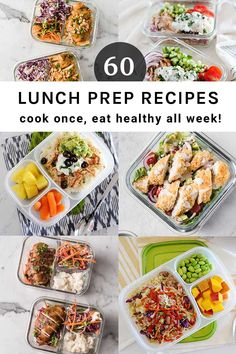 Cook once and eat healthy lunches and dinner recipes all week! Al the best ideas for school and office lunches here! Lunch Meal Prep #mealprep #lunches